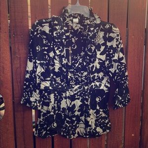 Size 2 black and white JCrew blouse